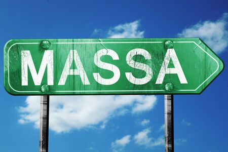 massa: Massa road sign, on a blue sky background