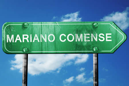 mariano: Mariano comense road sign, on a blue sky background Stock Photo