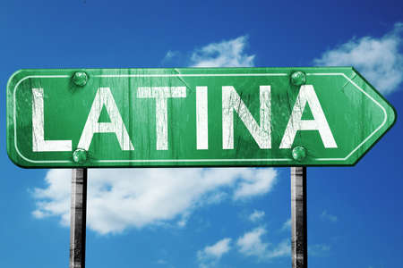 latina: Latina road sign, on a blue sky background