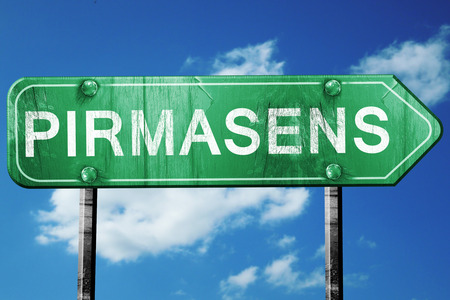 Pirmasens road sign, on a blue sky background
