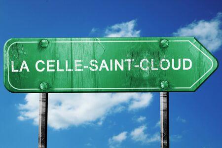 la: la celle-saint-cloud road sign, on a blue sky background