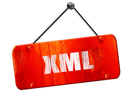 xml: xml, 3D rendering, red grunge vintage sign