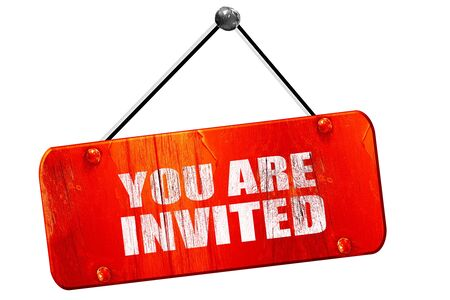 invited: you are invited, 3D rendering, red grunge vintage sign Stock Photo