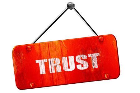 connective: trust, 3D rendering, red grunge vintage sign