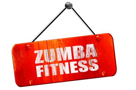 zumba: zumba fitness, 3D, muestra de la vendimia del grunge rojo Foto de archivo