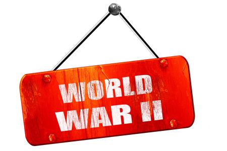 world war 2: World war 2, 3D rendering, red grunge vintage sign