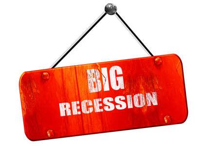 recession: Recession sign, 3D rendering, red grunge vintage sign