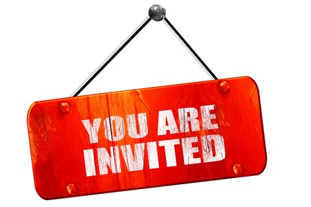 you are invited, 3D rendering, red grunge vintage sign Stock Photo