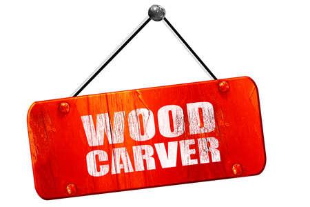 carver: wood carver, 3D rendering, red grunge vintage sign Stock Photo