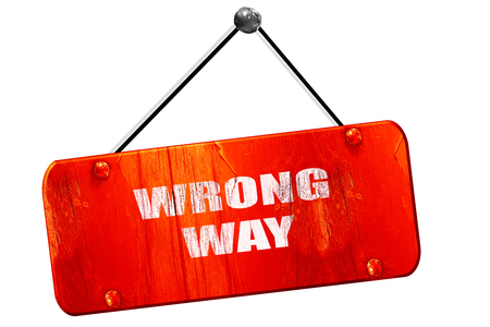 wrong way: wrong way, 3D rendering, red grunge vintage sign