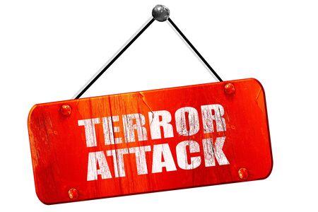 caliphate: terror attack, 3D rendering, red grunge vintage sign