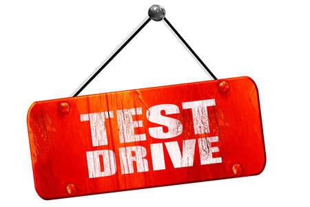 test drive: test drive, 3D rendering, red grunge vintage sign
