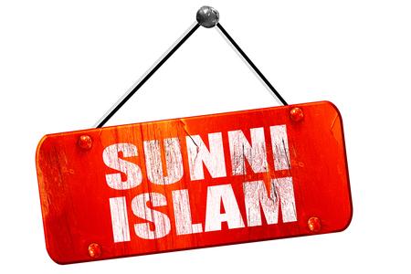 sunni: sunni islam, 3D rendering, red grunge vintage sign