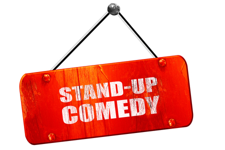 droll: stand-up comedy, 3D rendering, red grunge vintage sign