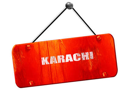 karachi: karachi, 3D rendering, red grunge vintage sign