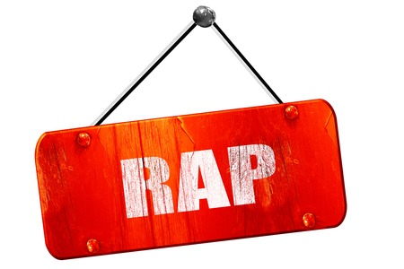 music 3d: rap music, 3D rendering, red grunge vintage sign Stock Photo