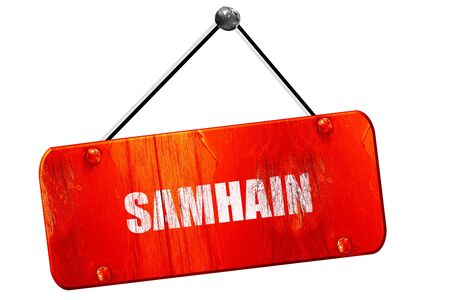 wiccan: Traditional glowing Samhain Jack-o-Lantern with carved word Samhain on it. Pagan Wiccan Wheel of the Year holiday celebration., 3D rendering, red grunge vintage sign