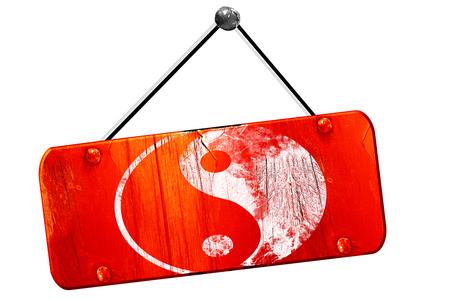 opposites: Ying yang symbol, 3D rendering, red grunge vintage sign