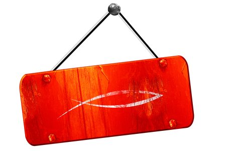 pez cristiano: símbolo cristiano de los pescados, 3D, muestra de la vendimia del grunge rojo Foto de archivo
