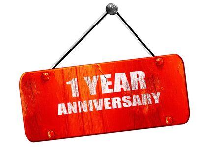 1 year anniversary: 1 year anniversary, 3D rendering, red grunge vintage sign