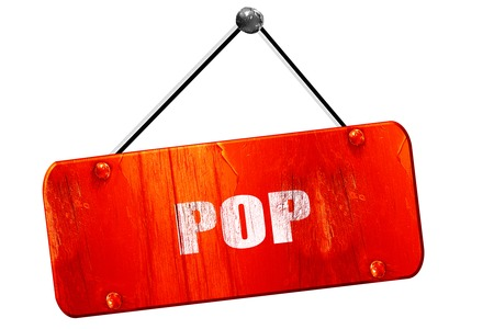music 3d: pop music, 3D rendering, red grunge vintage sign Stock Photo