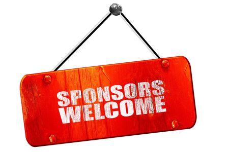 sponsors: sponsors welcome, 3D rendering, red grunge vintage sign