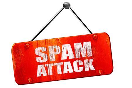 spam attack, 3D rendering, red grunge vintage sign