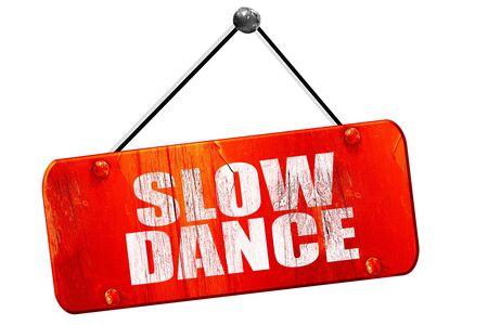 3d dance: slow dance, 3D rendering, red grunge vintage sign