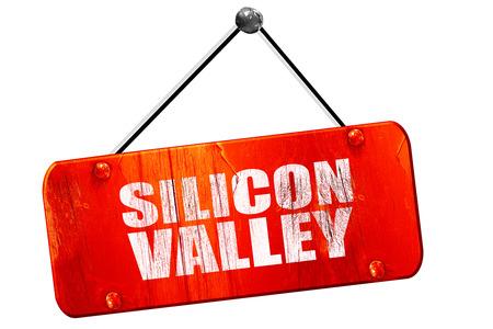 silicio: Silicon Valley, 3D, muestra de la vendimia del grunge rojo