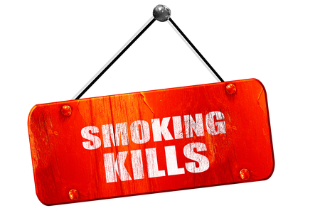 killing cancer: smoking kills, 3D rendering, red grunge vintage sign Stock Photo