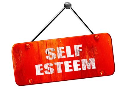 self worth: self esteem, 3D rendering, red grunge vintage sign