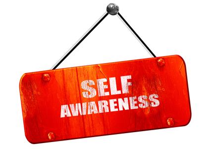 self worth: self awareness, 3D rendering, red grunge vintage sign