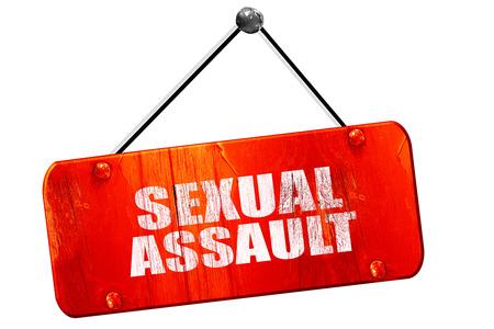 assault: sexual assault, 3D rendering, red grunge vintage sign