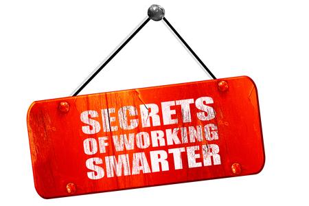 secrects of working smarter, 3D rendering, red grunge vintage sign Imagens