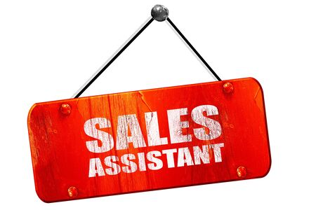 sales assistant: sales assistant, 3D rendering, red grunge vintage sign