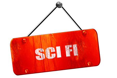 sci: sci fi, 3D rendering, red grunge vintage sign