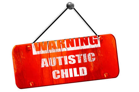 autistic: Autistic child sign with orange and black colors, 3D rendering, red grunge vintage sign Stock Photo