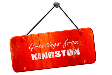 kingston: Greetings from kingston with some smooth lines, 3D rendering, red grunge vintage sign