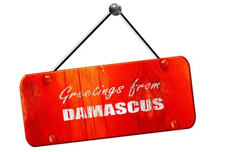damascus: Greetings from damascus with some smooth lines, 3D rendering, red grunge vintage sign