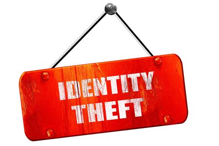 scammer: Identity fraud, 3D rendering, red grunge vintage sign