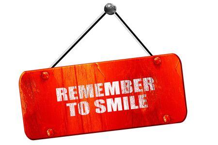 recordar: remember to smile, 3D rendering, red grunge vintage sign Foto de archivo