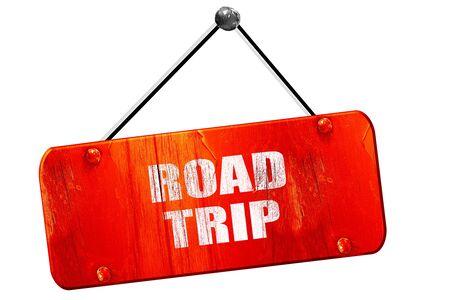 roadtrip: roadtrip, 3D rendering, red grunge vintage sign