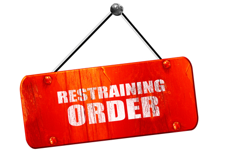 restraining: restraining order, 3D rendering, red grunge vintage sign