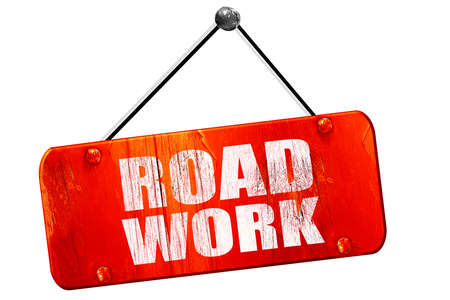 road work: road work, 3D rendering, red grunge vintage sign