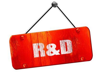 rd: r&d, 3D rendering, red grunge vintage sign