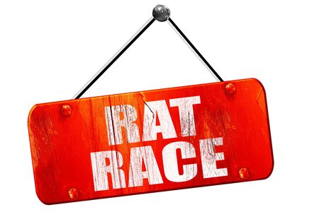downshift: rat race, 3D rendering, red grunge vintage sign Stock Photo