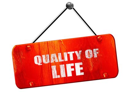 everyday jobs: quality of life, 3D rendering, red grunge vintage sign