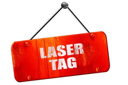 laser tag: laser tag sign background, 3D rendering, red grunge vintage sign