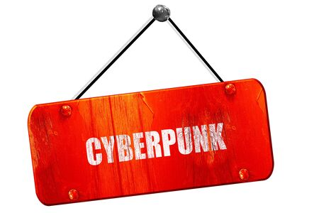 cyberpunk: cyberpunk, 3D rendering, red grunge vintage sign Stock Photo