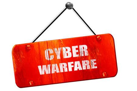 cyber warfare: Cyber warfare, 3D rendering, red grunge vintage sign